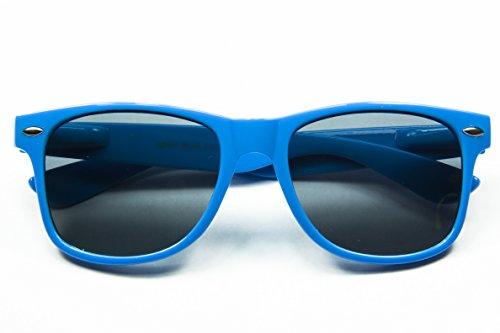 Classic Retro Horn Rimmed Wayfarer Sunglasses Metal Spring Hinge Comfort Fit (Blue) (Sunglasses Ny Wholesale)