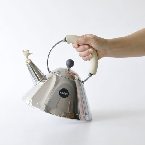 Alessi Michael Graves Kettle with Bird Whistle, White Handle