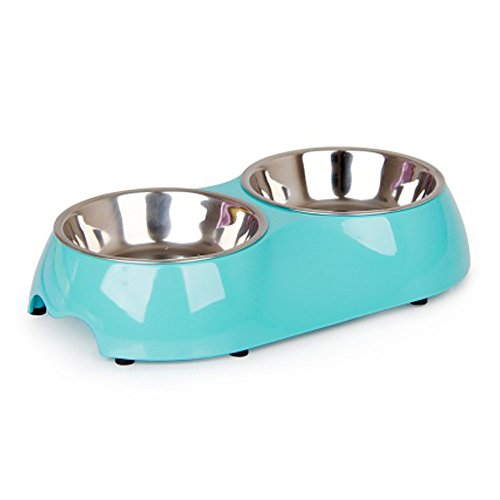 Blue Water Bowl (Dog And Cat Stainless Steel Double Diner Food Water Bowl Blue)