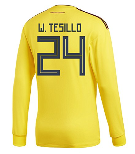 ロンドンアスレチックバイオリニストadidas Mens W. TESILLO #24 Colombia Home Long Sleeve Soccer Jersey World Cup 2018 /サッカー ユニフォーム テシージョ 背番号 24 コロンビア ホーム用 長袖