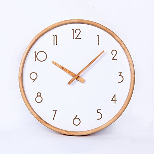 Stylish, Silent Wall Clock Home,Kitchen,Office,Living Room,School Clock, Easy to ReadModern Minimalist Nordic Wall Clock Mute Log Frame Without Mirror Decoration 12 inches, 16 inches, Wood Color