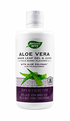 Nature's Way Aloe Vera Gel and Juice  Wild Berry Flavor, 1 Liter (Pack of 2)
