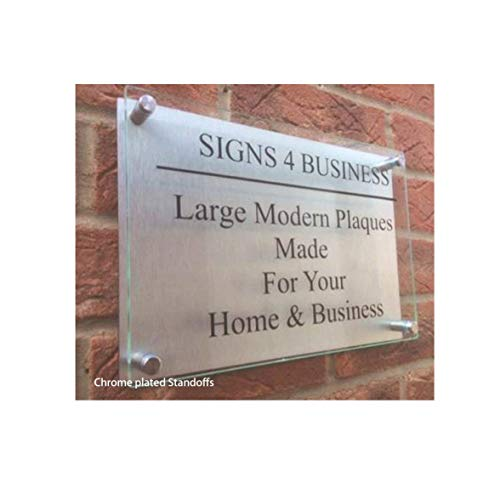 Business Front Sign Clear Acrylic Panel Chrome Standoffs for Office Clinic Bar Restaurant Law Firm (Double Panel 12x18) by THEDISPLAYDEAL