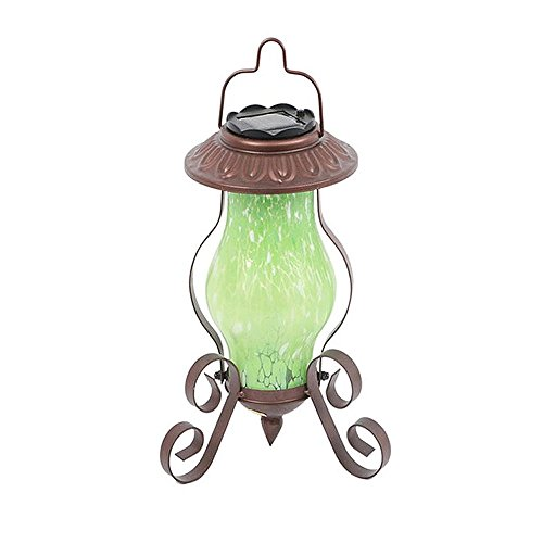 Farm to Table Art Glass Solar-Powered Metal Garden Lantern - Hanging or Tabletop (Green) by Dennis East International