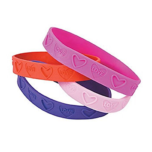 12 ~ Love Heart Valentine Rubber Bracelets ~ Approx. 7