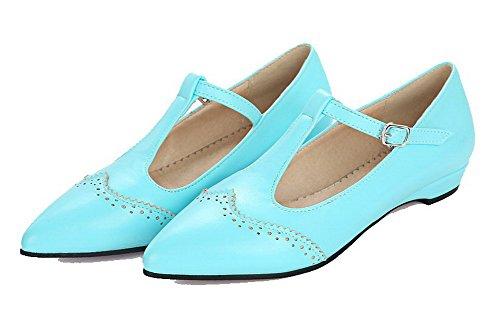 Scamosciata Puro Donna Celeste Finta VogueZone009 Flats Pelle Ballet Fibbia qwIqPX1pU