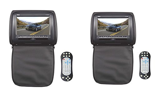 Pair 7' Headrest (2) NEW PYLE PL73DBK 7'' Black Wide Car Headrest DVD/MP3/MP4 Video Players (Pair))