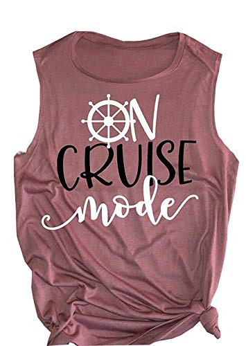 cf849f794c1c6 Summer Funny On Cruise Mode Letter Cute Rudder Graphic Tank Tops for Womens  Sleeveless Workout Yoga