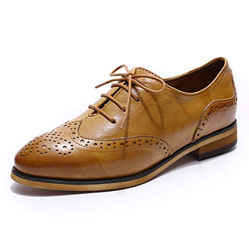 MIKCON Womens Leather Oxfords Vintage Wingtips Brogues Flats lace-up Saddle Oxfords Shoes for Women ladis Girls ()