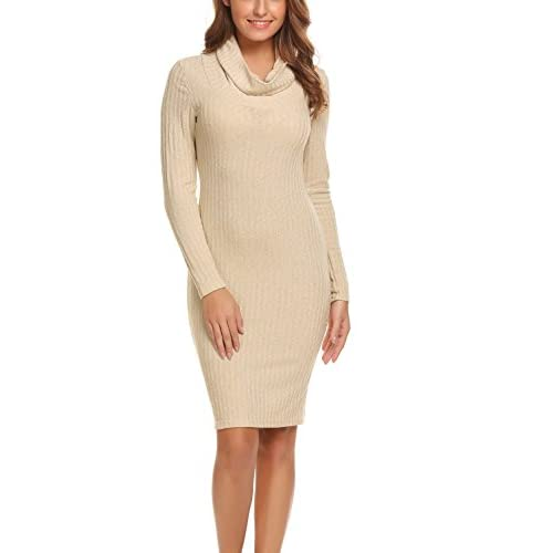 free shipping Women Cowl Neck Sweater Dress Pullover Knit Stretchable Long  Sleeve Bodycon Midi Dress 7b711c239