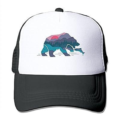 LoKIDve Bear California Adjustable Printing Snapback Mesh Hat Unisex Adult Baseball Mesh Cap