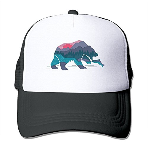 (Waldeal Unisex Adult Bear California Adjustable Printing Snapback Mesh Hat Baseball Mesh Cap)