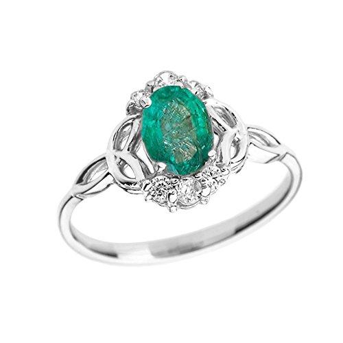 Elegant 14k White Gold Diamond Trinity Knot Proposal Ring with Genuine Emerald (Size ()