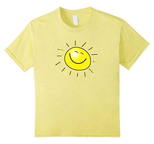 Kids Smiley Face Sunshine Sun T-Shirt Kids Summer Happy Fun Smile 6 Lemon (Yellow T-shirt Sunshine)