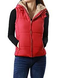 Women's Padded Faux Fur Light Weight Hoodie Sleeveless Coat Vest Outwear (LARGE, RED-E2142V-C)