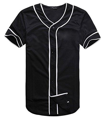 (AKP Mens Hipster Hip Hop Button-Down Baseball Jersey Short Sleeve Shirt (M, Black 01) )