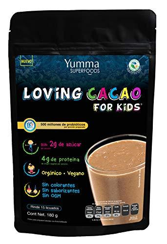 Loving Cacao for Kids by Yumma Superfoods, Mezcla de proteína para niños con superfoods en polvo 180 gr, 100% orgánico y...