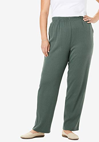 Woman Within Womens Plus Size Petite 7-Day Knit Ribbed Straight Leg Pant