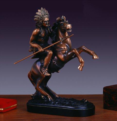 Native American Chief on Horse Statue - Bronze Finish