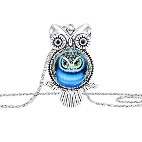 Susenstone Owl Pendant Necklace Jewelry Vintage Newest Glass Cabochon Necklace - Heart Owl Pendant