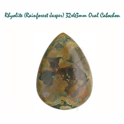 Natural Rhyolite (Rainforest Jasper) Teardrop Gemstone Cabochon Stone for Jewelry Making, 30x40mm, UNDRILLED ()