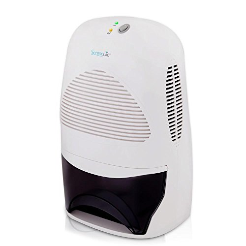 SereneLife Upgraded Electronic Dehumidifier Air Filter - Breathe Easier Odor Eliminator Moisture Control Built-in Ventilation Fan Reusable Removable Water Tank Rooms up to 2200 Cu Ft, 68 Oz PDUMID55