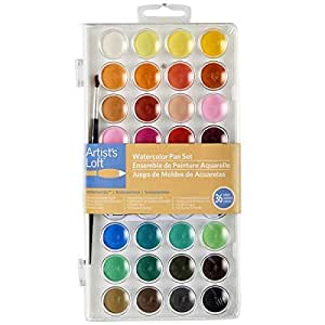 Artists Loft 1234556 12356 Fundamentals Watercolor Pan Set, 36 Colors, Assorted