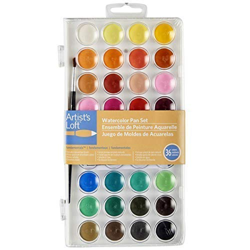 (36 Color Fundamental Watercolor Pan Set with Paint Brush by Artists)