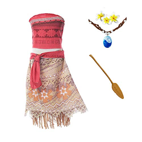 ROMASA Moana Costume Girls Adventure Outfit Cosplay Two-Piece Dress up Skirt Set -