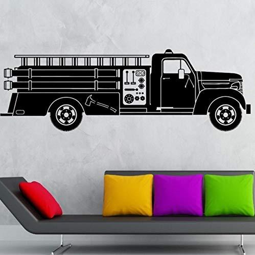 Dalxsh Car Truck Wall Decal Vinyl Wall Art Mural Firefighter Truck Wall Sticker Hot Ride Kids Boys Room Decor Firefighter 57x19cm]()