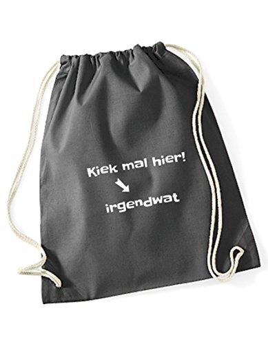 Turnbeutel bedruckt / Rucksack / Sportbeutel / Gymsack mit Sprüchen / Gymbag mit Spruch kiek mal hier von 3 Elfen - Statement Hipster Jute Bag Beutel aus Baumwolle - schwarz grau
