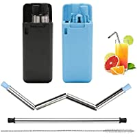 2 Pack Collapsible Reusable Straw, Composed of Stainless Steel and Food-Grade Silicone, Portable Set with Hard Case…
