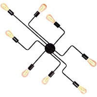8-Lights Sputnik Chandelier Black Semi Flush Mount...