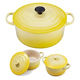 Le Creuset Signature Soleil Yellow Enameled Cast Iron 7.25 Quart Round French Oven with 2 Free Stoneware Cocottes