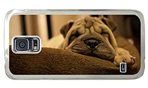 Hipster rubber Samsung S5 Cases Shar Pei Puppy Sleep PC Transparent for Samsung S5