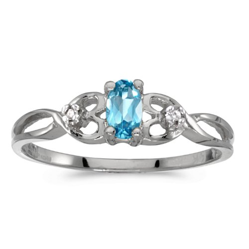 0.19 Carat (ctw) 10k Gold Oval Blue Topaz and Diamond Infinity Twisting Heart Shaped Promise Fashion Ring (5 x 3 MM)