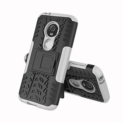 OFU®Para MOTO E5 Smartphone, Híbrido caja de la armadura para el teléfono MOTO E5 resistente a prueba de golpes contra la lucha de viaje accesorios esenciales del teléfono,Para MOTO E5 negro blanco