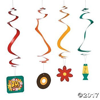 70s Party Hanging Swirl Decorations - 12 -