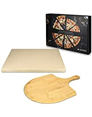 Navaris XL Pizza Stone Set for Baking - Cordierite Pizza Stone Plate with Large Wooden Pizza Peel Board for BBQ Grill Oven - Rectangular, 15 x 11.8 in