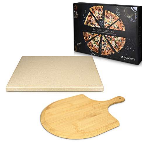 Navaris pizzasteen XL voor oven en barbecue – Rechthoekige pizzaplaat 38 x 30 cm – Inclusief pizzaschep van bamboe…