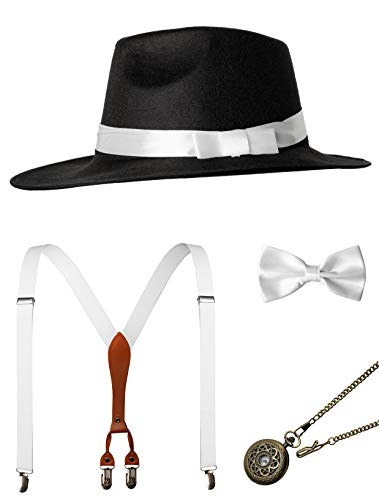 1920s Mens Accessories Gatsby Gangster Costume Accessories Set Manhattan Fedora Hat Suspenders Bow Tie Pocket Watch (Black and White Set) -