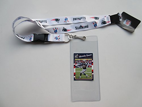 NEW ENGLAND PATRIOTS WHITE RETRO LANYARD WITH TICKET HOLDER & COLLECTIBLE PLAYER CARD