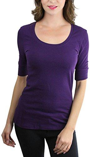 ToBeInStyle Women's Elbow Length Sleeve Scoop Neck Tee