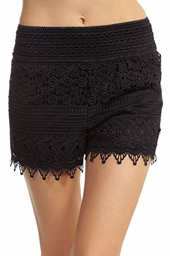 ToBeInStyle Women's Crotchet Lace Shorts - Black - Small