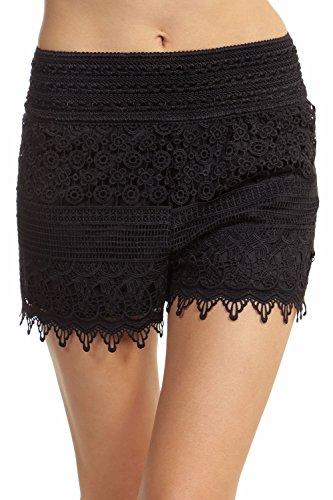 ToBeInStyle+Women%27s+Crotchet+Lace+Shorts+-+Black+-+Large