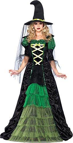 Leg Avenue Women's 2 Piece Storybook Witch Costume, Black/Green, -