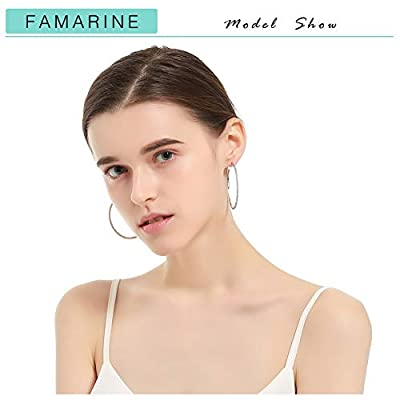 """FAMARINE 925 Sterling Silver 18K White Gold Plated Open C Hoops Earrings 2"""", Crystal Rhinestone Earring Gift for Women Box Included"""