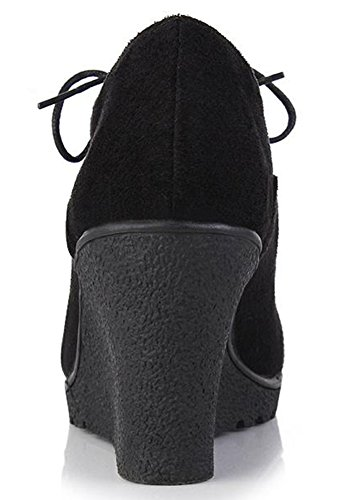 Idifu Mujeres Dressy High Wedge Tacones Lace Up Oxfords Zapatos Low Top Short Botas Negro