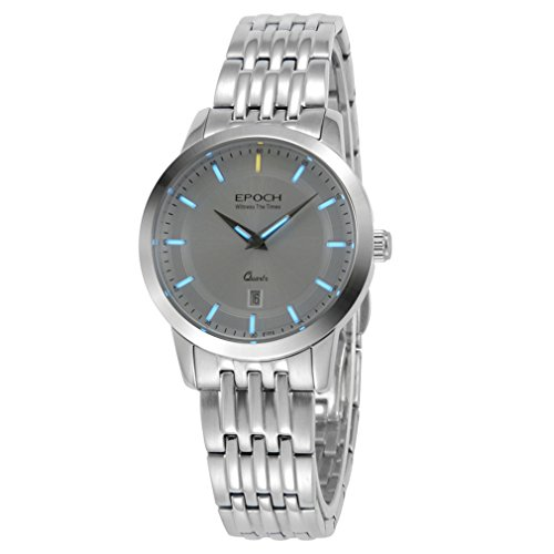 EPOCH 6023L Waterproof 50m tritium Gas Blue Luminous Steel Strap White dial Vogue Business Lady Women Quartz Watch Wristwatch -  EPOCH 6023L blue steel white
