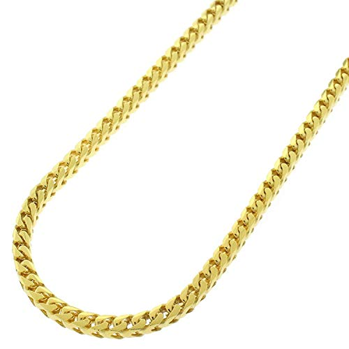 (Sterling Silver Italian 3mm Solid Franco Square Box Link 925 Yellow Gold Plated Necklace Chain 20